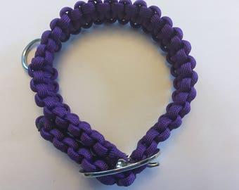 "Adjustable Dog Collar Non Reflective Paracord purple 14"""