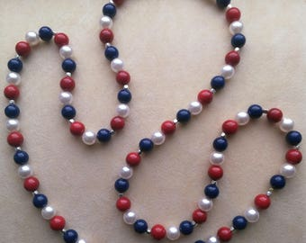 Red White Blue Necklace, Holiday Memorial Day Jewel, Independence Day, Labor Day, Patriotic Necklace - Great America USA by enchantedbeads