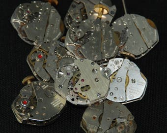 Vintage Antique Industrial Looking Watch Movements Steampunk Altered Art Assemblage RB 17