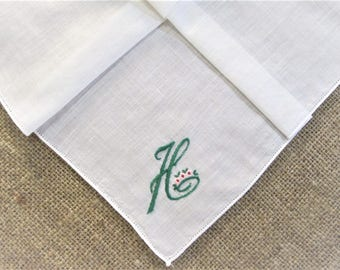 Vintage H Monogram Green Embroidered Handkerchief Initial Personalized Hankie Monogrammed Bridal Wedding Antique Linen Hanky