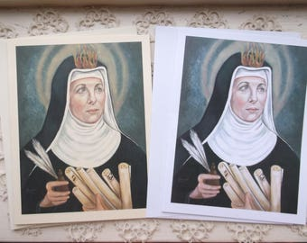 Saint Hildegard Von Bingen, Stationary Cards on White and Ivory Card Stock with Envelope Image taken from my Catholic Art, signed