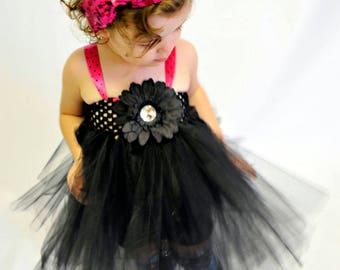 Black Flower Tutu Dress - Perfect for Halloween costume, Photo Prop, Birthday, Custom made in Sz 1-3T