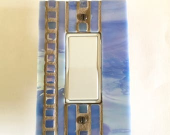 Blue Iridescent Light Switch Cover, Light Switch Plate, Decorative Switch Plate Cover, Dimmer Cover Plate, Decorative Outlet Cover, 8751