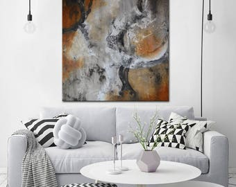 Large Modern Painting On Canvas, Abstract Art, Brown Black Painting , Lobby  Art, Part 93