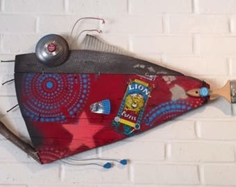 Happy Hippie Tie-dye Fish-Reclaimed Wood, driftwood, Red, Blue, Grey, Turquoise, Wall Art