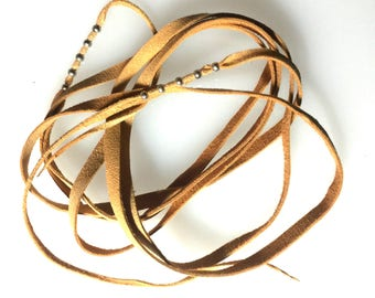 Hand Cut Fine Washable Leather 5 ft long for binding or hair braids.