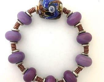 Summer Sale Bracelet Lamp Work Eye Bead Artist Signature 6 ins.