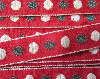 Italy 3-7/8 Yards Vintage Cotton Edging Embroidered Dots Fabric Sewing Trim Red  RV 97