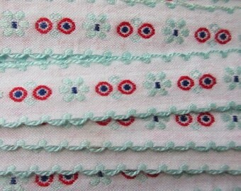 Italy 2 Yards Vintage Edging Embroidered White Red Aqua Fabric Sewing Trim   RV 106