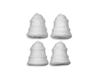 "4 Spun Cotton Ribbed Bells 1 3/8"" ~ Germany ~ Christmas Bells  SC 215"