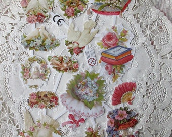 Denmark Paper Lithographed Die Cut Scraps Flowers Glittered Doves   SD 55