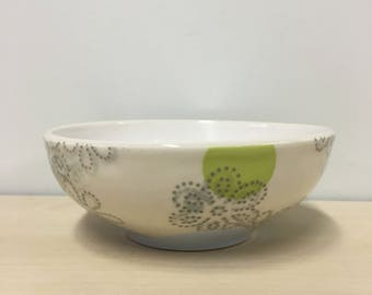 handmade porcelain bowl: Dot Dot Floral by Meredith Host in Light Blue & Chartreuse