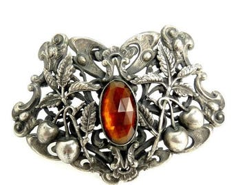 Antique Victorian Silver Buckle Brooch Repousse Cherry & Scroll