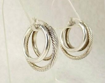 Vintage Sterling 925 Triple Hoop Earrings