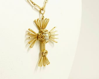 Vintage Gold Filled Cross Pendant Necklace Wire Wrapped Cross And Pearl