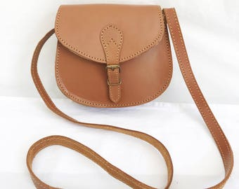 Vintage 70's Small Brown leather Cross Body Purse