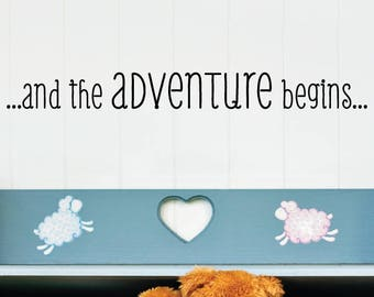 Wall Quote Decal And the Adventure Begins Nursery Sweet New Baby Travel Theme Nursery Decor Wall Art Vinyl Wall Decal