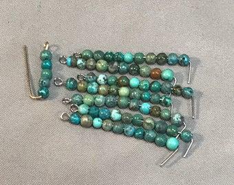 Turquoise beads 4mm round semi-rough gemstone bead
