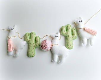 Cactus and Llama garland bunting