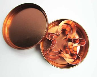 Set of Vintage 1960's  Copper Gingerbread Men Cookie Cutters in the Box, 3 Graduated Sizes, Kitchen Cookie Cutters, Copper Utensils