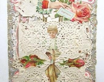 Antique Edwardian Valentine, Valentine Card, Lacy Valentine, Valentine Greetings c 1910, Valentine Ephemera, Antique Card