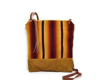 weekdayer • honduran textile - waxed canvas crossbody bag • handwoven striped textile - honduras - brown waxed canvas - global textile