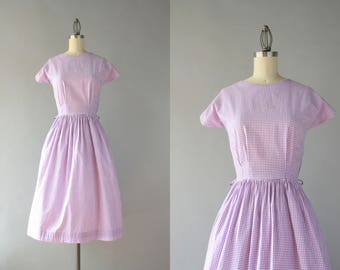 1950s Dress / Vintage 50 Lavender Gingham Cotton Day Dress / 1940s Full Skirt Purple Checks Dress M medium