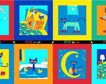 Pete the Cat Squares Marcus Brothers fabric Panel
