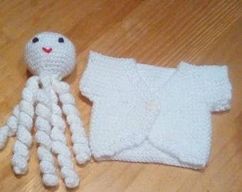 Octopus and cardigan for premature baby.