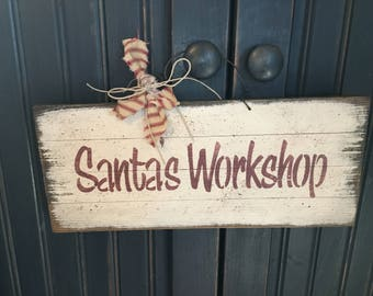 Santa's Workshop Wood Sign