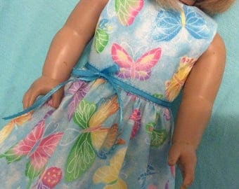 Blue Butterfly Dress / Doll Clothes fits American Girl doll
