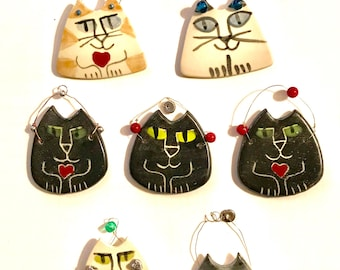 Choose color Cat lover ornament gift tag pendant hand made fine feline rustic design custom glaze colors