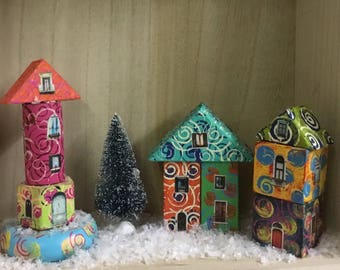 Hand Painted Quirky Wooden Block Village - Set One