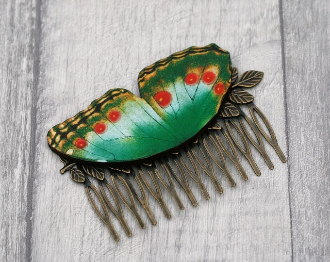 Green Butterfly Hair Slide, Green Hair Grip, Girls Hair Accessory