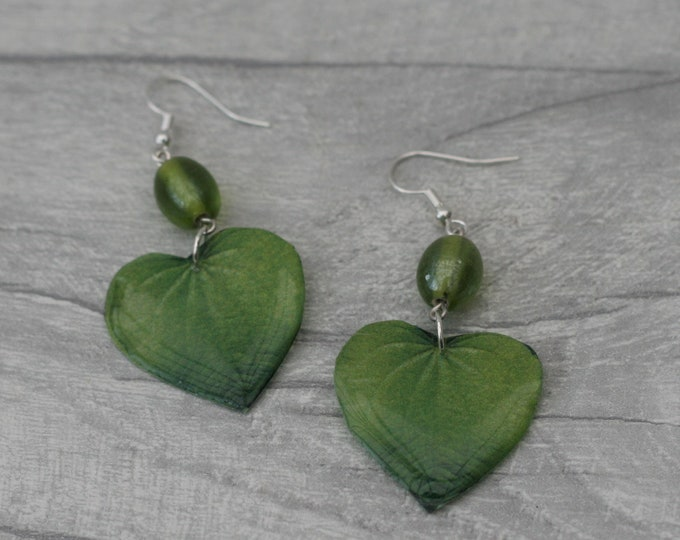 Green Leaf Earrings, Green Heart Earrings