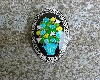 Flower vase goose eggshell pysanky pin pendant
