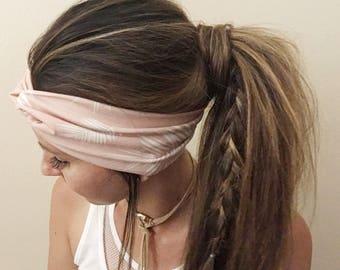 Blush Palm Head Wrap, Palms, Summer Head Wrap, Women's Head Wrap, Knotted Headband, Stretch Hair Wrap, Athletic Wrap, Sand, Beachy