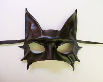 Little Black Cat Leather Mask costume entirely handcrafted lightweight and easy to wear cute sexy Mardi Gras
