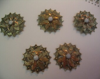 5 Filigree Layered Embellishments Findings Scrapbook Jewelry Craft Supplies