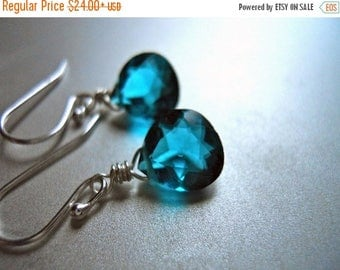 QUICKIE SALE 15% OFF, Paraiba Blue Dangle Earring, Blue Earrings, Small Teal Blue Earrings, Sterling or Gold Available, small teal earrings,