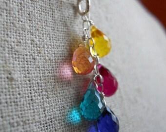 QUICKIE SALE 15% OFF, Rainbow necklace , Goody Goody Gumdrops, Multicolor Necklace, Rainbow Teardrop Necklace, Rainbow Jewelry, Cluster Neck