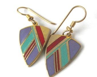 Vintage Laurel Burch Cloisonne Earrings / Diagonal Stripe Geometric Design / Dangling Earrings / Gift for Her / Purple Red Turquoise Gold