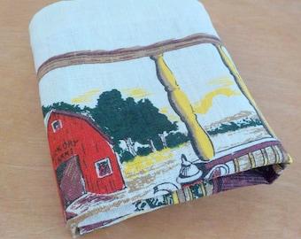 Vintage Hickory Farms Linen Kitchen Towel • 1970s Vintage Calendar Dish Towel • Farm Scene Tea Towel