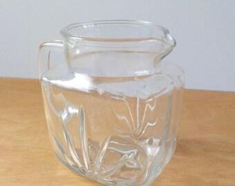 Star Burst Juice Pitcher • Vintage 1960'S • Small Clear Glass Pitcher • Breakfast Pitcher