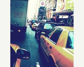 SALE New York City photography, cabride, blue urban yellow taxi cabs NYC manhattan street traffic, big apple, fine art print 5x7