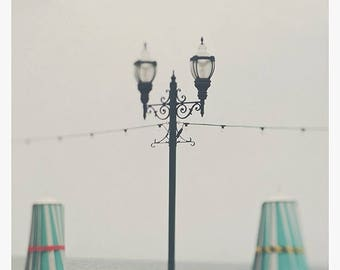 SALE Santa Cruz boardwalk photo, beach photography, peppermint blue green umbrella California girls room art iron lamp post, dreamy, ocean p