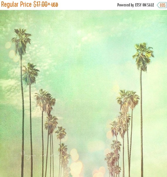 SALE La La Land, Los Angeles photography, California palm trees sunny day, summer vacation, blue mint green fine art print, Myan Soffia