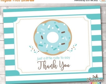 35% OFF SALE Printable Thank You Card Donut Sprinkle with Blue Stripes Instant Download PDF