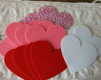 felt heart embellishments valentines day party craft supplies Large hearts red white pink fabric hearts Valentine embellishments kids crafts