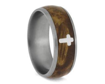 Black Ash Burl Ring With Silver Cross, Titanium Wedding Band
